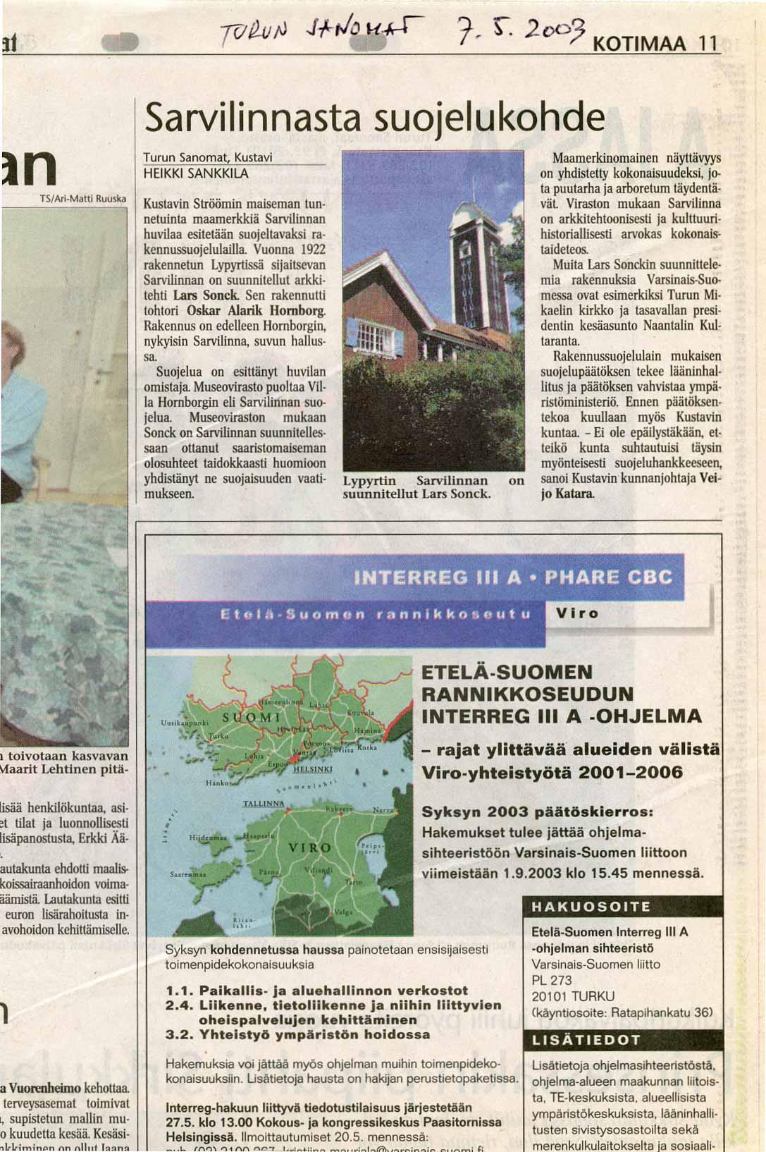 Turun Sanomat 7.5.2003