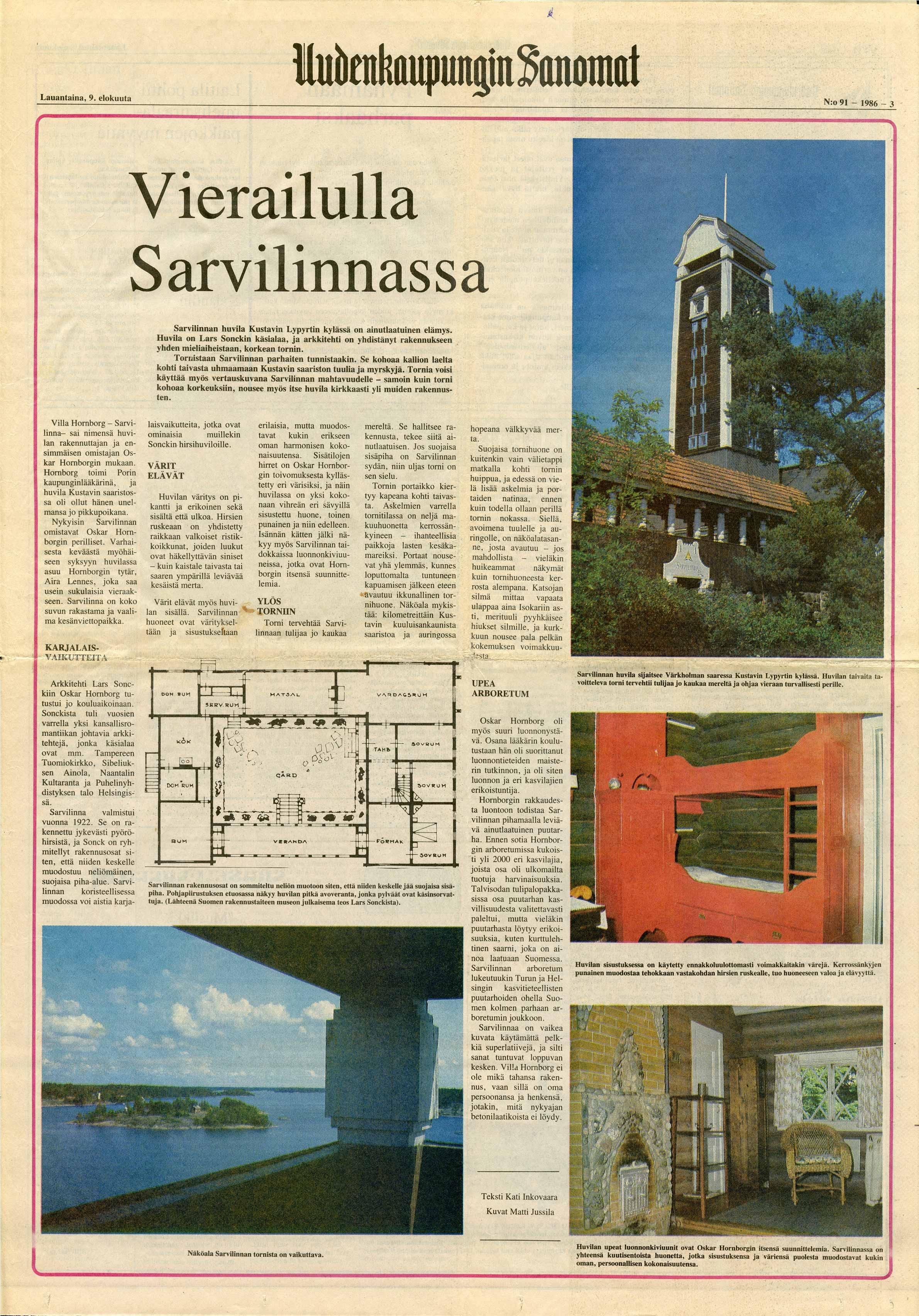 Uudenkaupungin Sanomat 9.8.1986