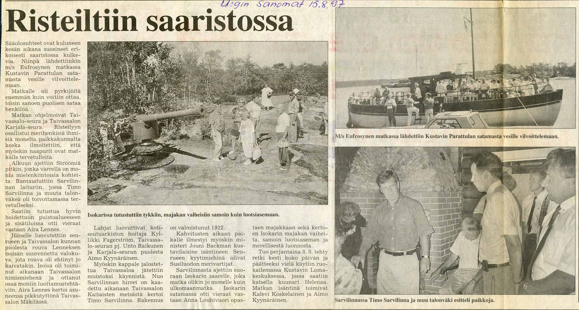 Uudenkaupungin Sanomat 15.8.1997