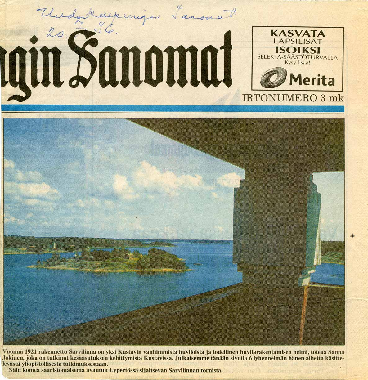 Uudenkaupungin Sanomat 20.7.1996