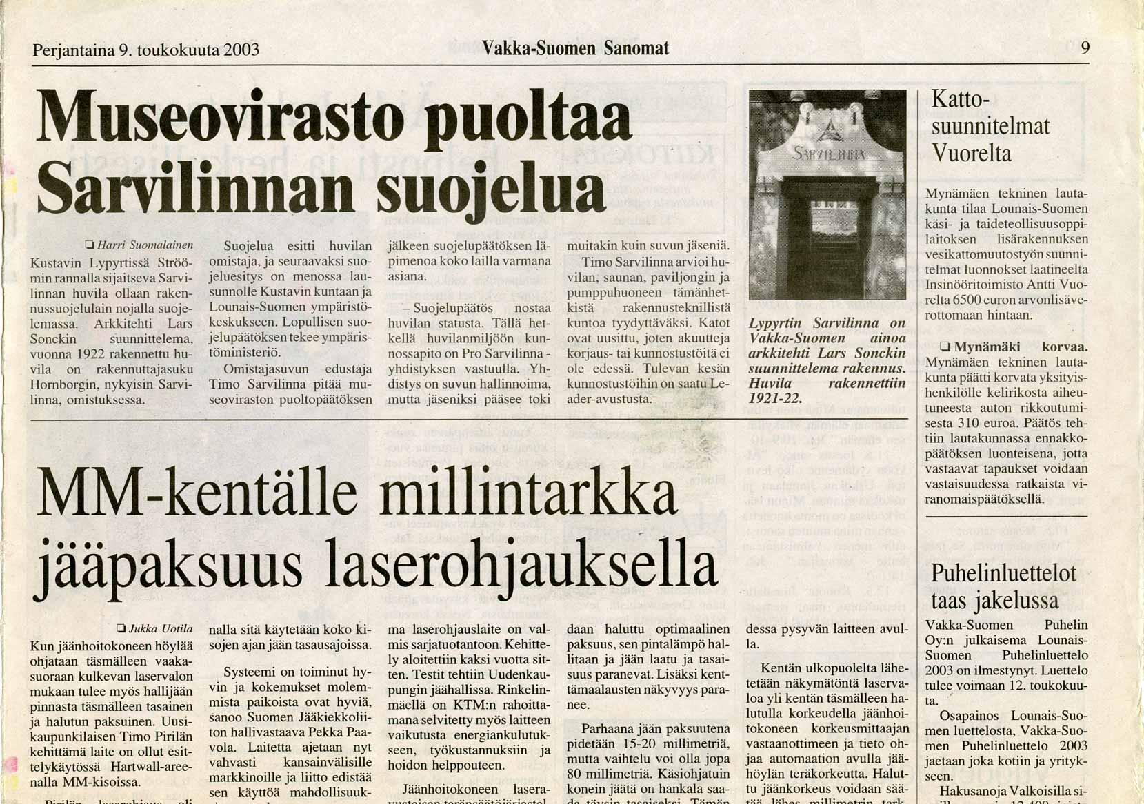 Vakka-Suomen Sanomat 9 May 2003