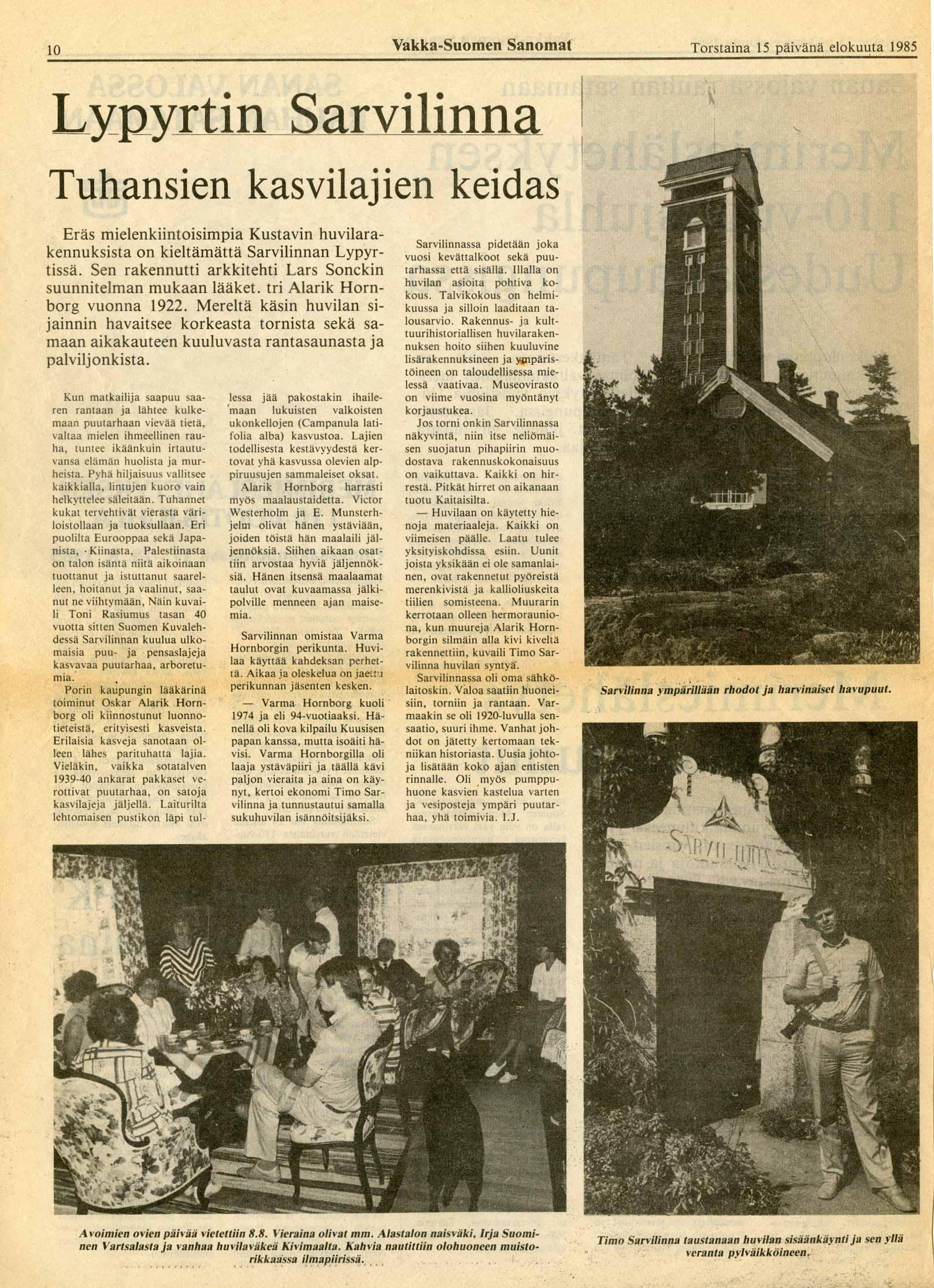 Vakka-Suomen Sanomat 15.8.1985