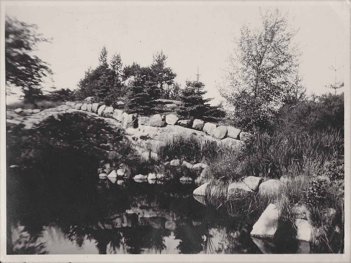Pond and stonework 1923
