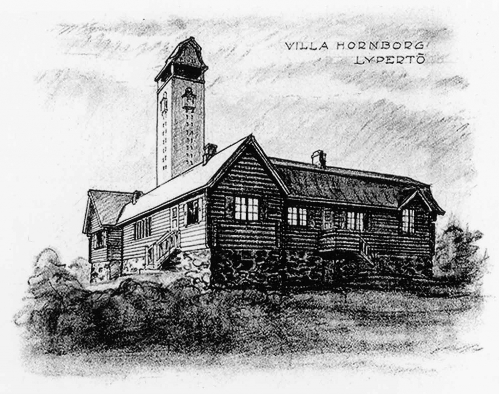Villa Hornborg – photo of an early sketch, Finnish Architectural Museum
