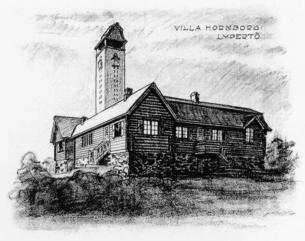 Villa Hornborg – bild på en tidig sketch, Finlands arkitekturmuseum